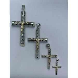 Harlembling Gold Silver Cross Jesus Piece Necklace